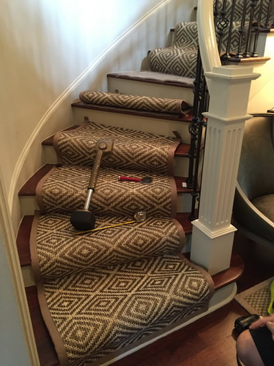 sisal carpet rug installation on stairs steps Charlotte North Carolina