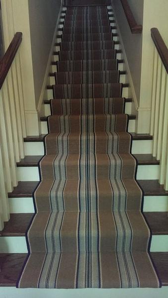 Stair carpet runner with serging Charlotte NC